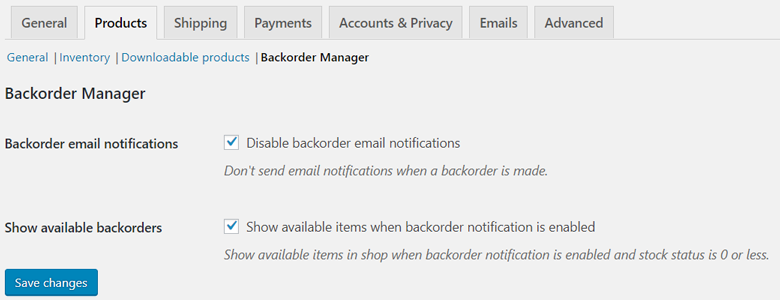 backorder manager settings page